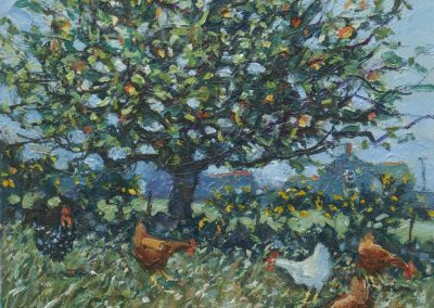 Apple Tree and Chickens
